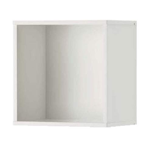 Kabinet-kabinet penyimpanan modular yang bisa diatur komposisinya sesuai kebutuhan. Terlihat produk sepenuhnya digantung ke dinding menuju kamar tidur sehingga area lantai bawah kosong untuk memudahkan perawatan.