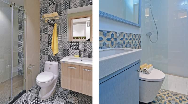 pola kamar mandi dan tekstur